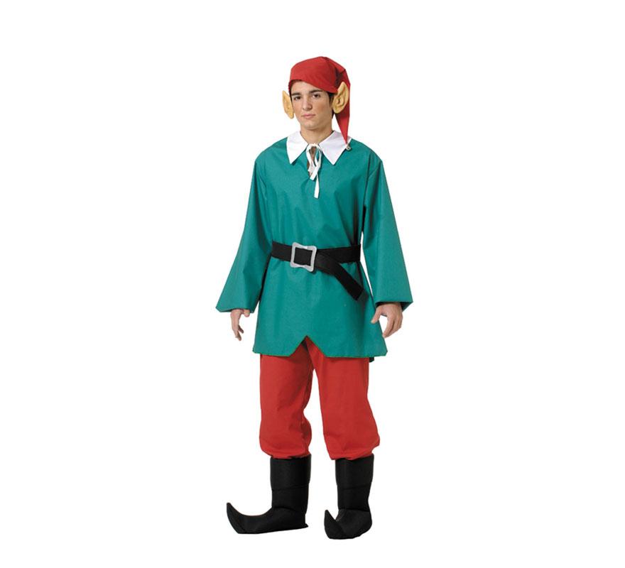 Disfraz de Elfo o Duende para hombre.Talla 52 Universal de adultos. Incluye casaca, pantalón, cinturón, gorro y cubrebotas. Resto de accesorios NO incluidos, podrás verlos en la sección de Complementos. Fabricado en España. Perfecto para acompañar a Papa Noel éstas Navidades.