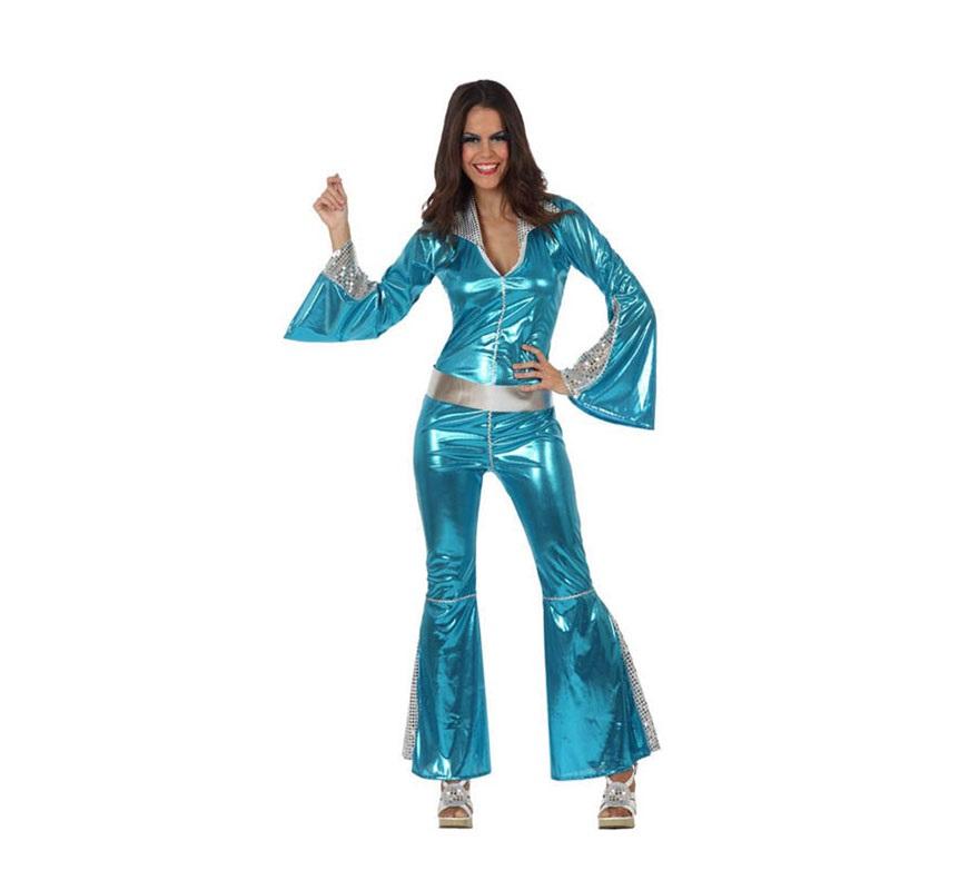 Disfraz Chica de la Disco mono azul para mujer. Talla 1 ó talla S 34/38 para chicas delgadas y adolescentes. Incluye mono y cinturón. Perfecto para disfrazarse de Abba.
