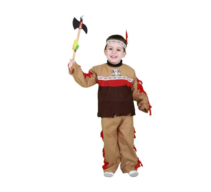 Disfraz de Indio para niños de 3 a 4 años. Incluye pantalón, camisa y tocado. Hacha NO incluida, podrás verla en la sección de Complementos - Armas.