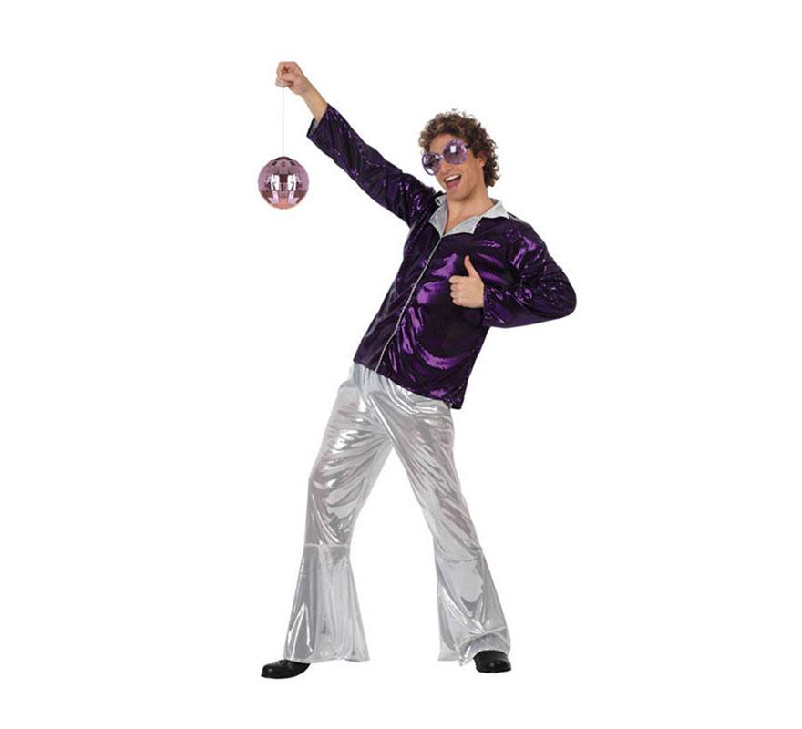 Disfraz Chico de la Disco púrpura para hombre. Talla XL 54/58. Incluye pantalón y camisa.