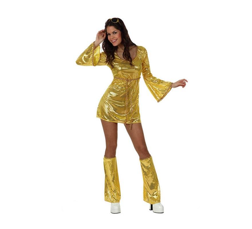 Disfraz Chica Disco vestido dorado para mujer. Talla 2 ó talla Standar M-L 38/42. Incluye vestido y cubrepiernas. Para sentirse como las cantantes de ABBA y viajar al pasado donde se lo pasaban en grande bailando en la Discoteca.