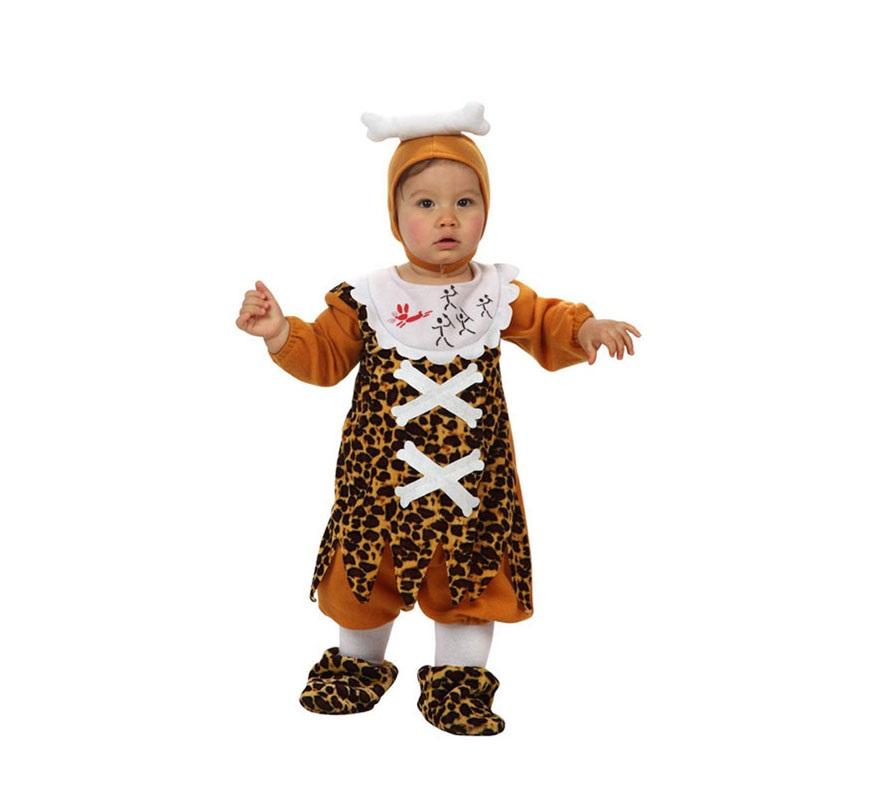 Disfraz de Troglodita o Cavernícola para bebé de 0 a 6 meses. incluye mono. cubrepies y gorro.