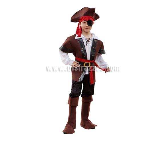 Disfraz barato de Pirata Bucanero para niños de 7 a 9 años. Incluye sombrero, camisa, chaleco, cinturón, pantalón y cubrebotas. Parche NO incluido, lo verás en la sección de Accesorios.