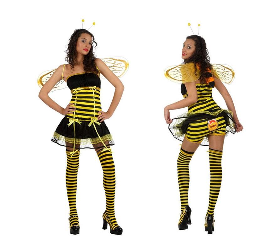 Disfraz de Abeja o Abejita sexy para mujeres. Talla XL 44/48. Incluye vestido, alas, antenas, liga y braguitas. Medias NO incluidas, podrás verlas en la sección de Complementos.
