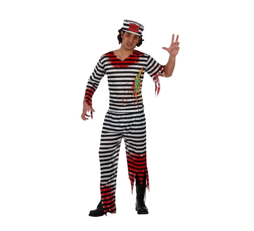 Disfraz de Preso Zombie para hombre. Talla XL 54/58. Incluye pantalón, camisa y gorro.