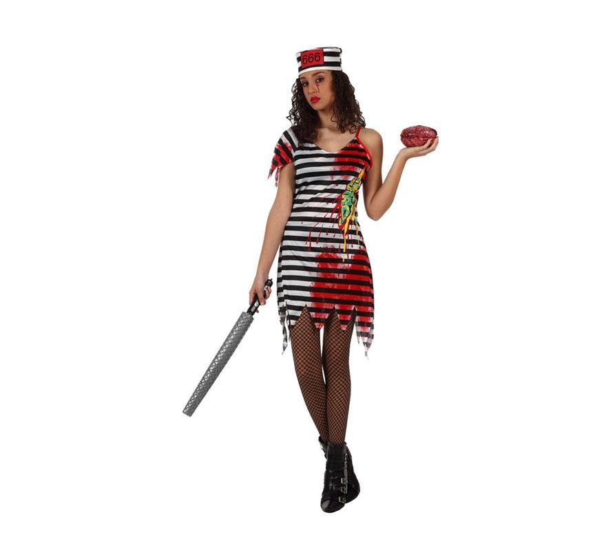 Disfraz de Presa, Prisionera o Presidiaria Zombie para mujer. Talla Standar M-L 38/42. Incluye vestido y gorro.
