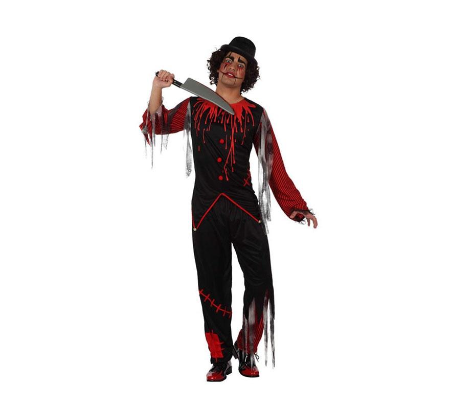Disfraz de Payaso Sangriento para hombre. Talla Standar M-L 52/54. Incluye pantalón y camisa. Cuchillo NO incluido, podrás verlo en la sección de Complementos.