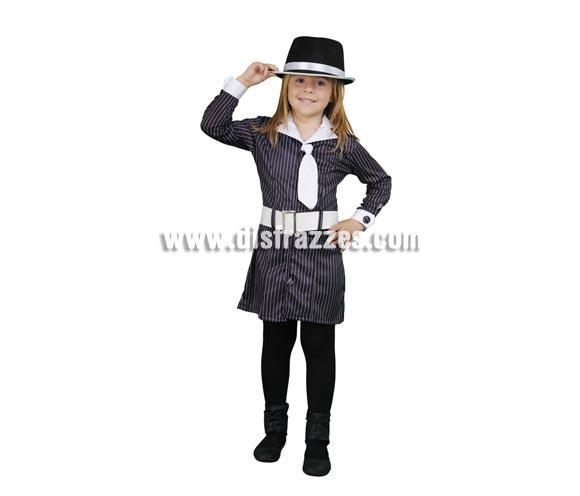 Disfraz barato de Gánster para niñas de 7 a 9 años. Incluye vestido con corbata y cinturón. Sombrero o gorro NO incluido, podrás verlo en la sección de complementos.