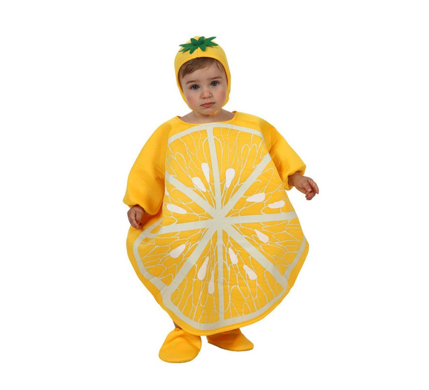 Disfraz de Limón para bebé de 6 a 12 meses. Incluye gorro, disfraz de limón y cubrepies.
