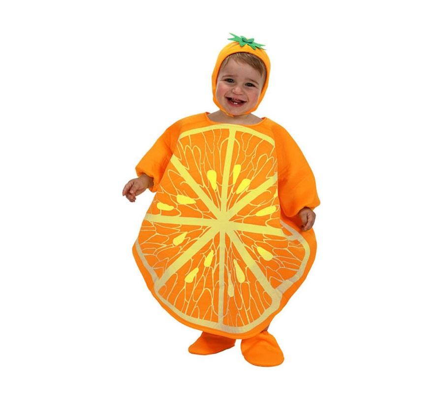 Disfraz de Naranja para bebé de 6 a 12  meses. Incluye gorro, disfraz de naranja y cubrepies.