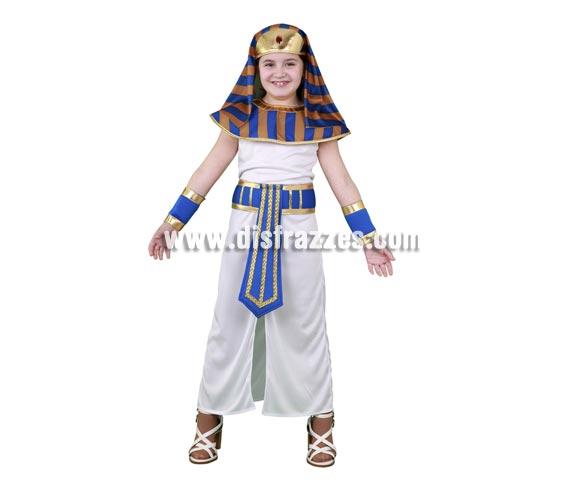 Disfraz barato de Faraona Egipcia para niñas de 5 a 6 años. Incluye tocado, cuello, túnica, cinturón y muñequeras.