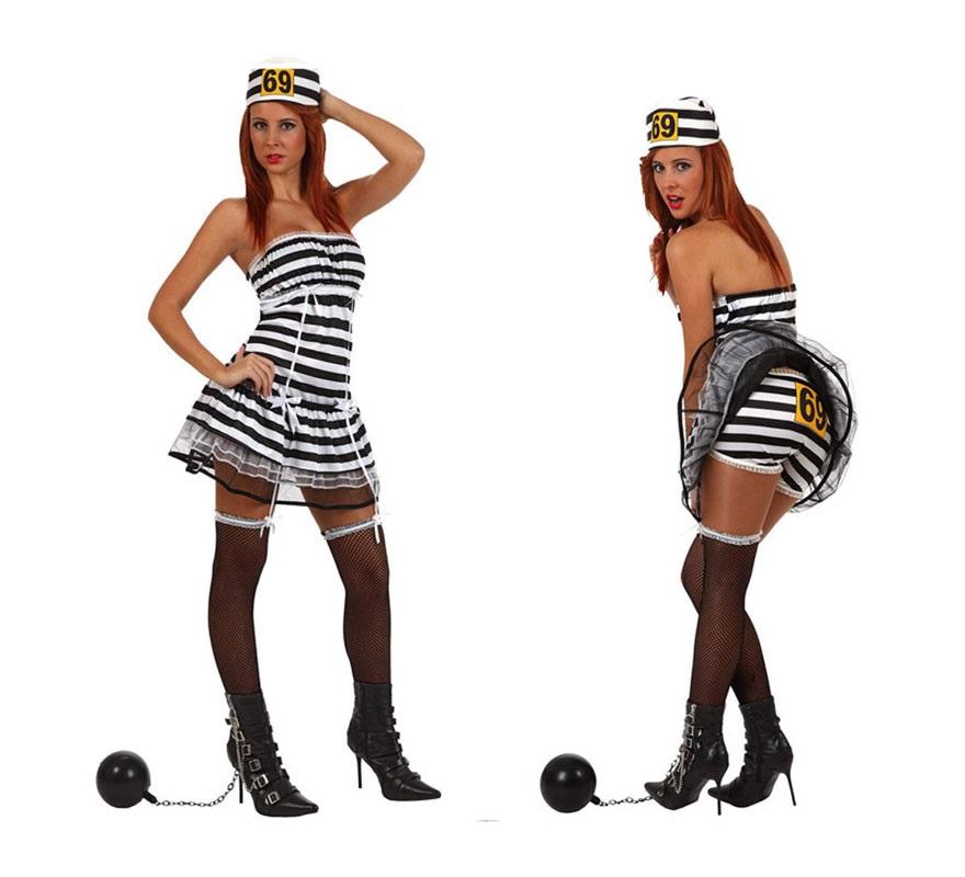 Disfraz de Presidiaria, Presa o Prisionera sexy para mujer. Talla S 34/38 para chicas delgadas y adolescentes. Incluye liga, vestido, braguitas y gorro.