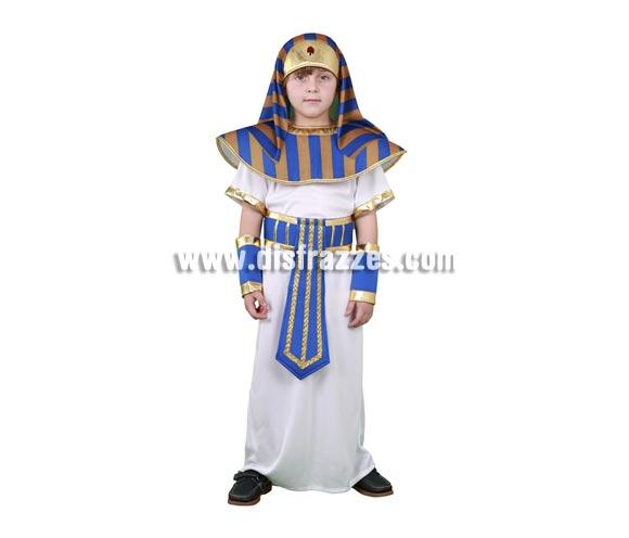 Disfraz barato de Faraón para niños de 7 a 9 años. Incluye tocado, cuello, túnica, cinturón y muñequeras.