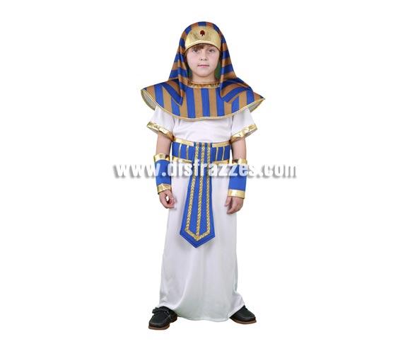 Disfraz barato de Faraón para niños de 10 a 12 años. Incluye tocado, cuello, túnica, cinturón y muñequeras.