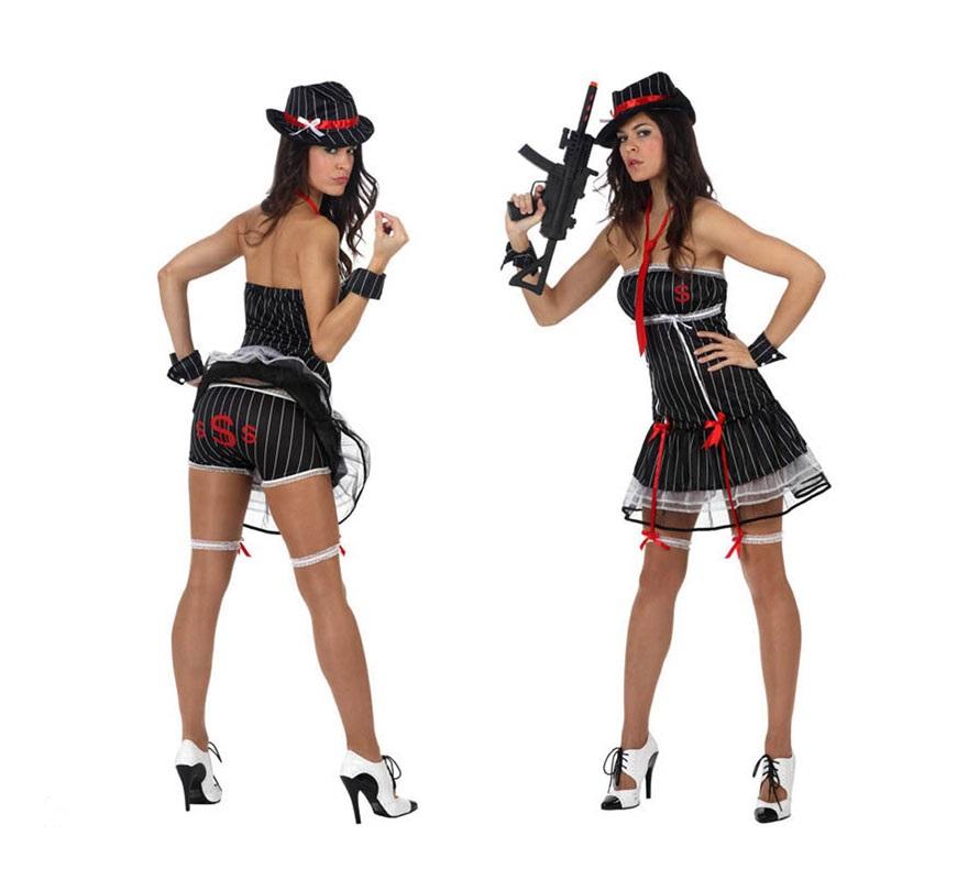 Disfraz de Ganster o Gangster sexy para mujer. Talla Standar M-L 38/42. Incluye vestido, ligueros, braguitas, gorro y corbata. La Metralleta la podrás ver en la sección de Complementos.