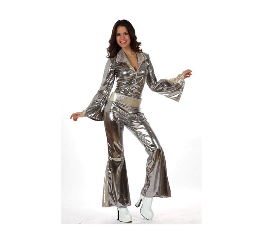 Disfraz Disco gris plata para mujer. Talla 1 ó talla S 34/38, para chicas delgadas o adolescentes. Incluye mono y cinturón. Para sentirse como las cantantes de ABBA y viajar al pasado donde se lo pasaban en grande bailando en la Discoteca.
