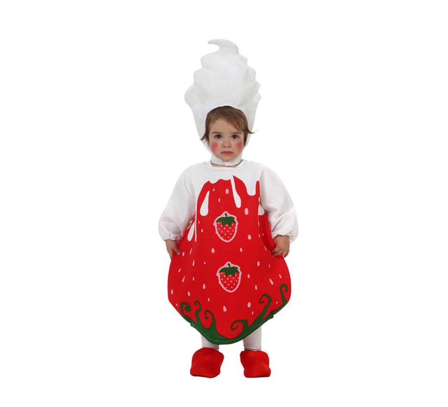Disfraz de Fresa para bebé de 6 a 12 meses. Incluye gorro, disfraz de fresa y cubrepies.
