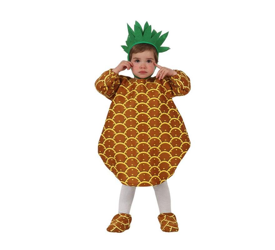 Disfraz de Piña para bebés de 6 a 12 meses. Incluye gorro, disfraz de piña y cubrepies.
