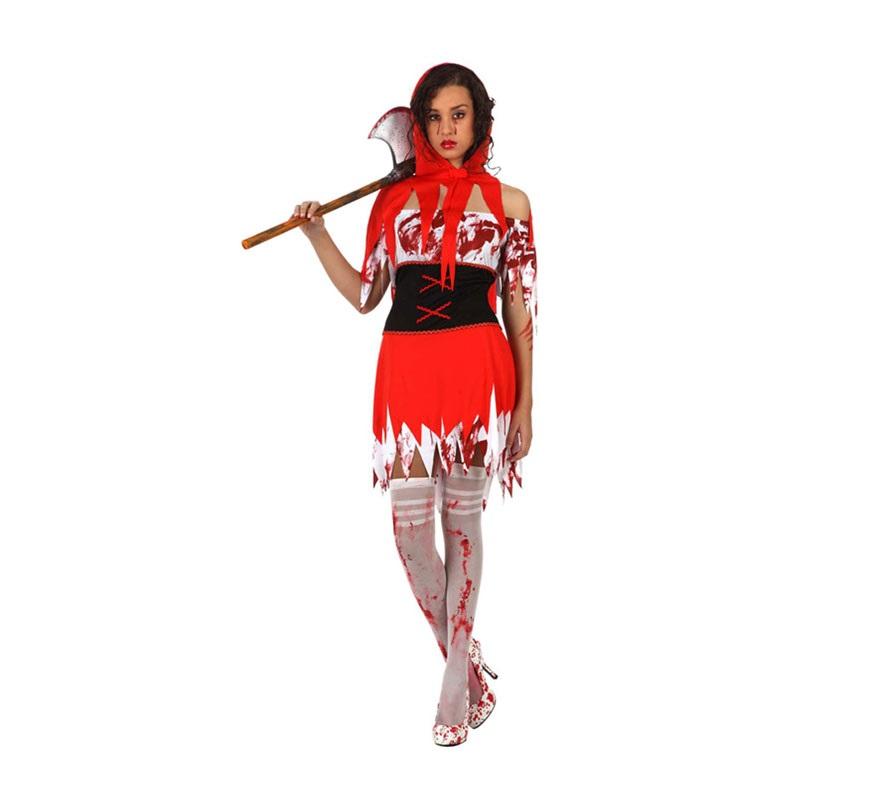 Disfraz de Caperucita Sangrienta para mujer. Talla Standar M-L 38/42. Incluye vestido y caperuza. Hacha y medias NO incluidas.