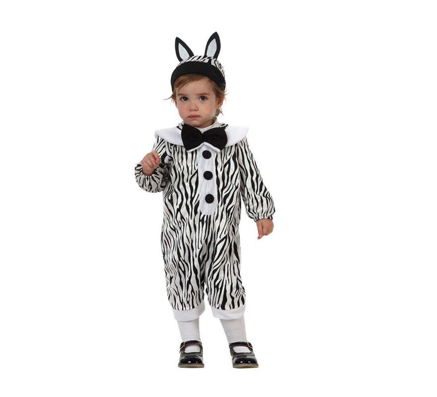 Disfraz de Cebra para Bebés de 6 a 12 meses. Incluye disfraz y gorrito con orejas.
