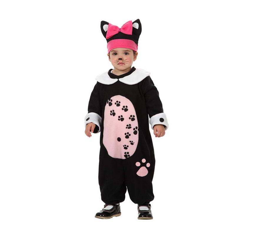 Disfraz barato de Gatita o de Gata para bebés de 12 a 24 meses. Incluye mono y gorrito. Disfraz de Gato o Gatito para niñas.