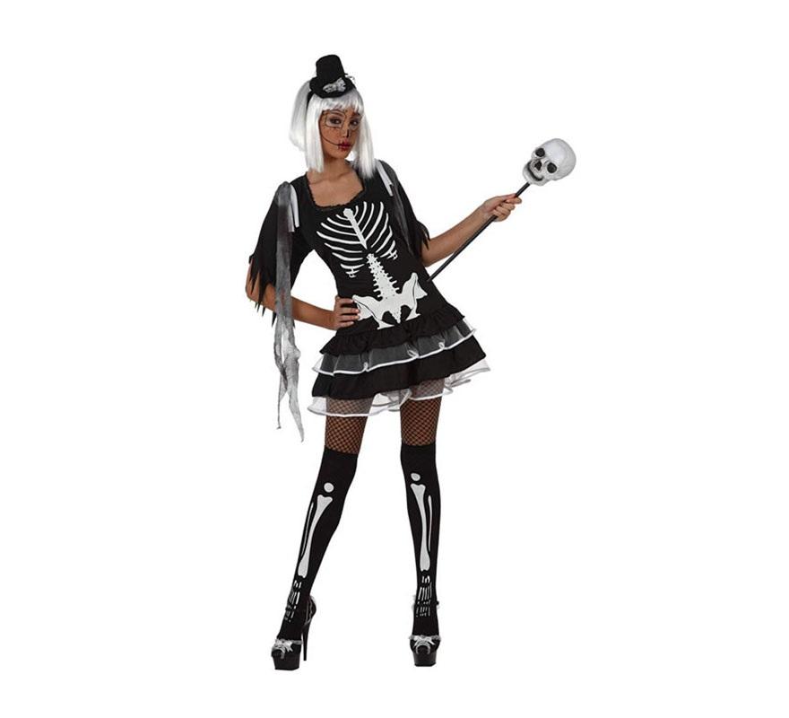 Disfraz de Esqueleto sexy para mujer. Talla S 34/38 para chicas delgadas o adolescentes. Incluye sólo vestido. Resto de accesorios NO incluidos, podrás verlos en la sección de Complementos.
