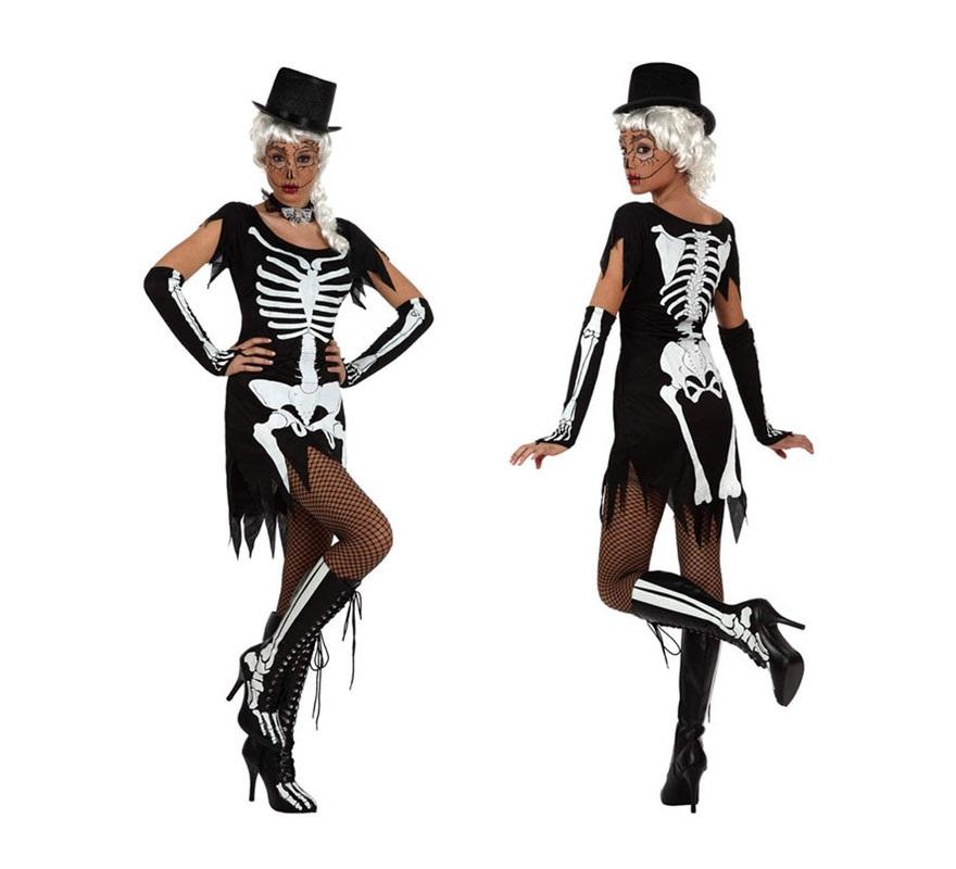 Disfraz de Esqueleto sexy para mujeres. Talla Standar M-L 38/42. Incluye vestido y manguitos. Botas, pelucas, collares, medias y chiteras No incluidas, podrás encontrar pelucas, collares, medias y chiteras en la sección de accesorios.