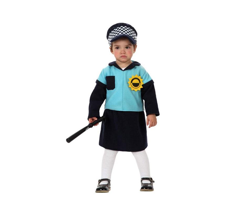Disfraz de Policía para niña bebé de 12 a 24 meses. Incluye vestido y gorra. Porra NO incluida, podrás verla en la sección de Accesorios.