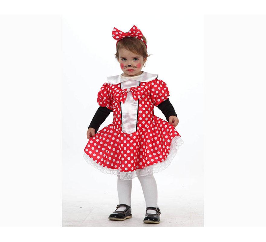 Disfraz de Ratita o Ratoncita para bebés de 12 a 24 meses. Incluye vestido y diadema.