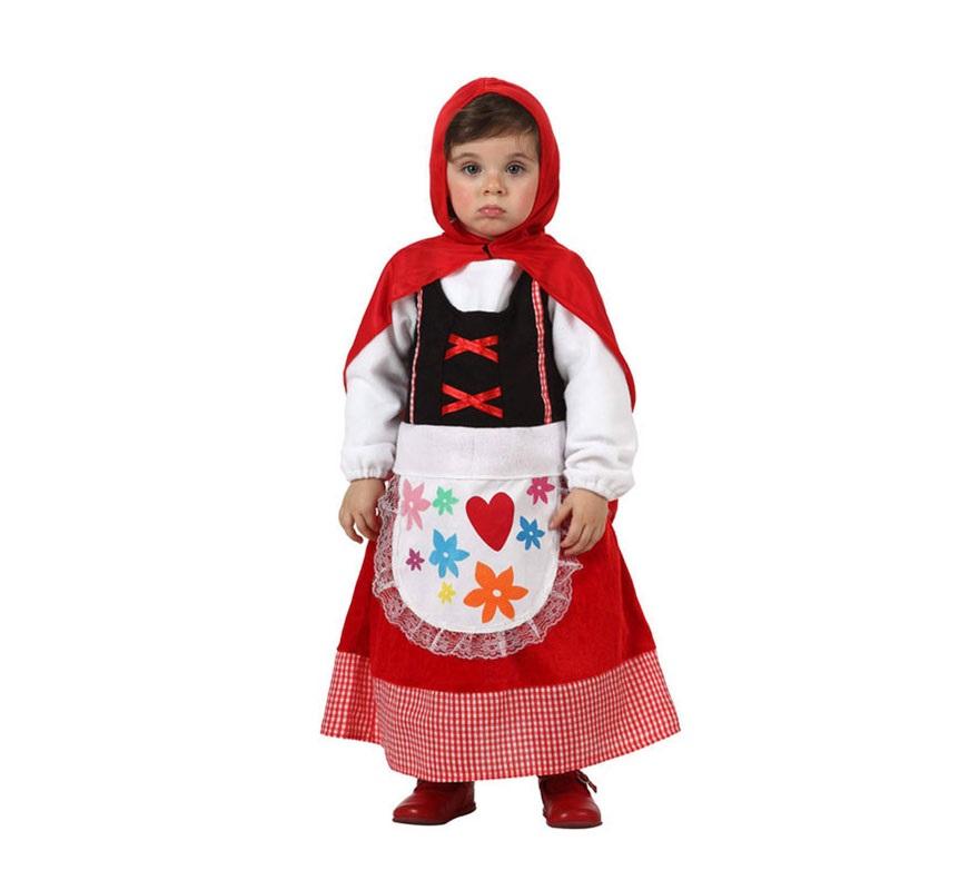 Disfraz barato de Caperucita Roja para niñas de 12 a 24 meses. Incluye vestido, delantal y capa.