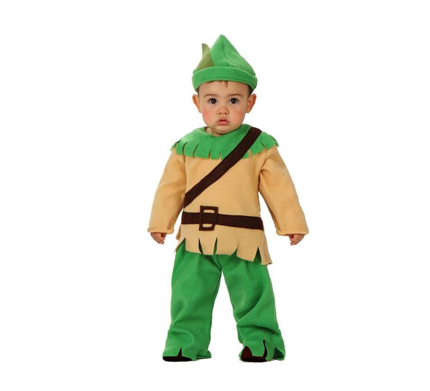 Disfraz de bebé de los bosques de 12 a 24 meses. Incluye disfraz completo. Ideal para disfrazarse de Robin Hood para niños.