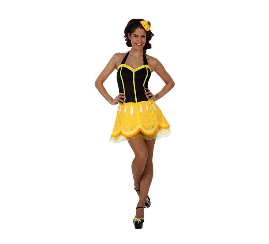 Disfraz de Chica Limón para mujer. Talla Standar M-L 38/42. Incluye vestido y tocado.