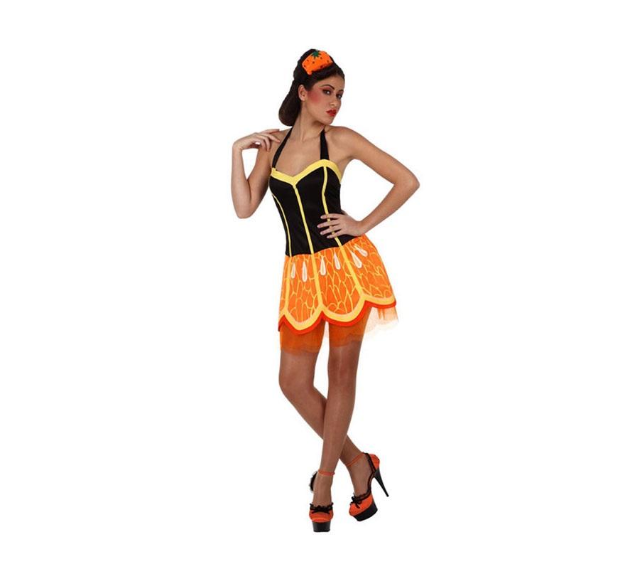 Disfraz de Chica Naranja para mujer. Talla Standar M-L 38/42. Incluye vestido y cinta de la cabeza.