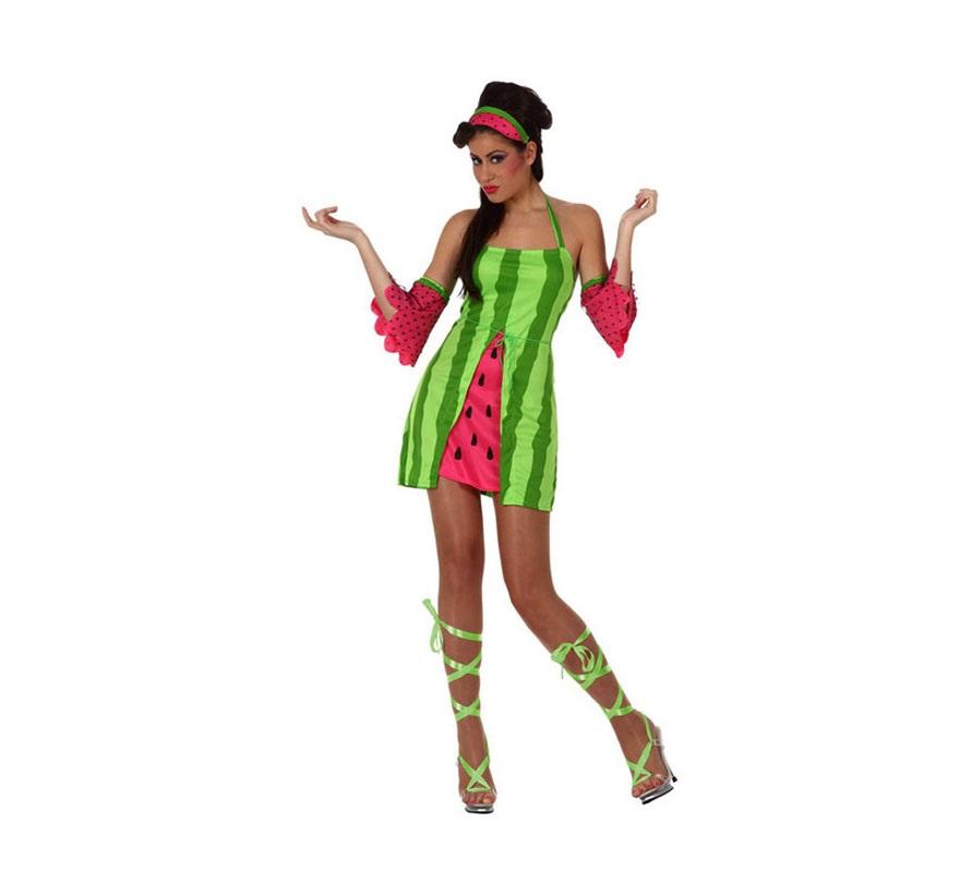 Disfraz de chica Sandía para mujer. Talla 2 ó talla Standar M-L 38/42. Incluye vestido, manguitos y cinta de la cabeza.