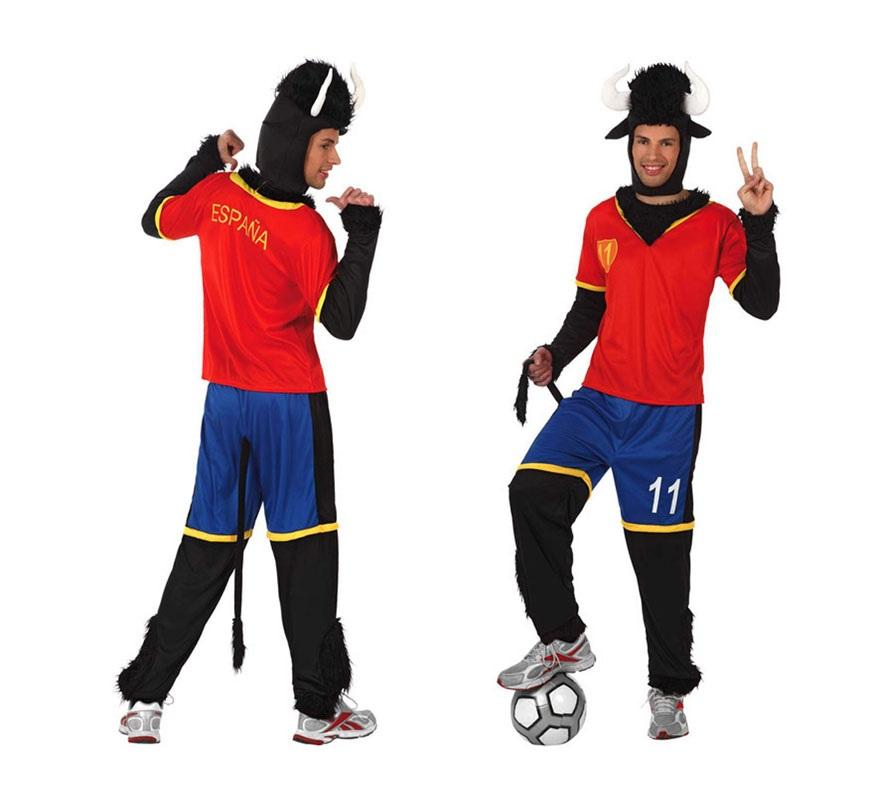 Disfraz de Toro Futbolista de la Selección Española para hombre. Talla Standar M-L = 52/54. El disfraz perfecto para animar a nuestra Selección Española sobre todo en la Eurocopa y en el Mundial.