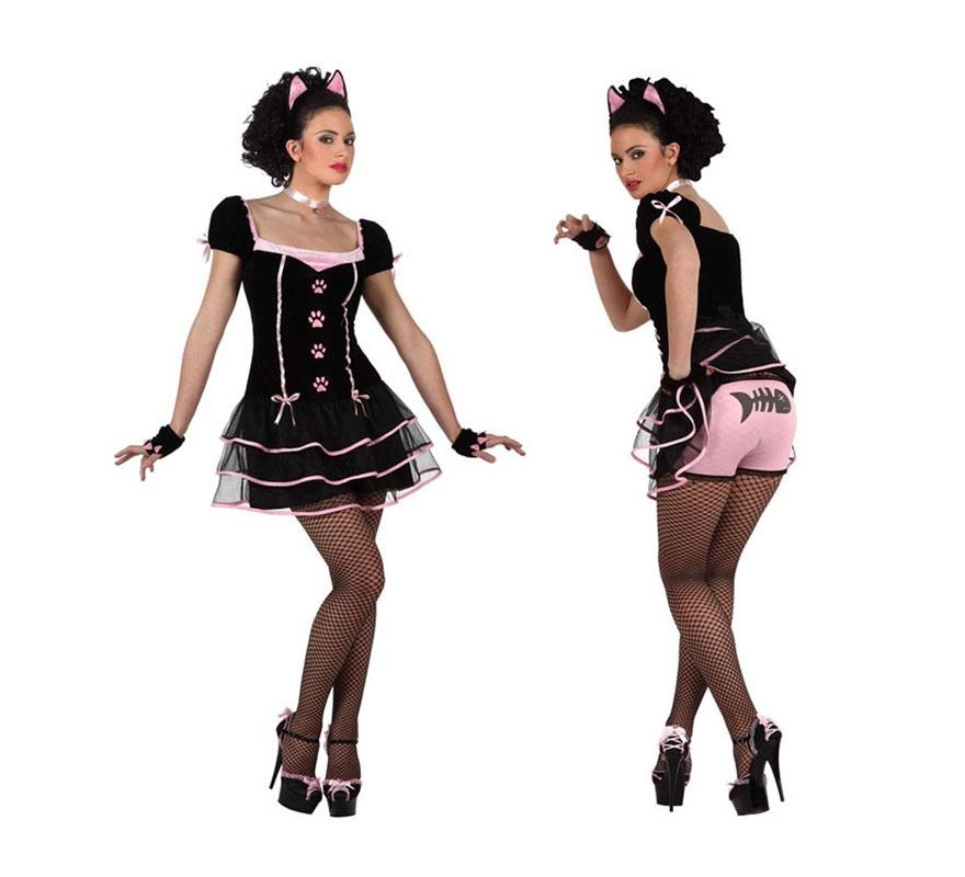 Disfraz barato de Gatita para mujer. Talla XL 44/48. Incluye vestido, gargantilla, orejas, braguitas y guantes. Éste disfraz de Gata o Gatita es muy bonito y sexy para las mujeres.