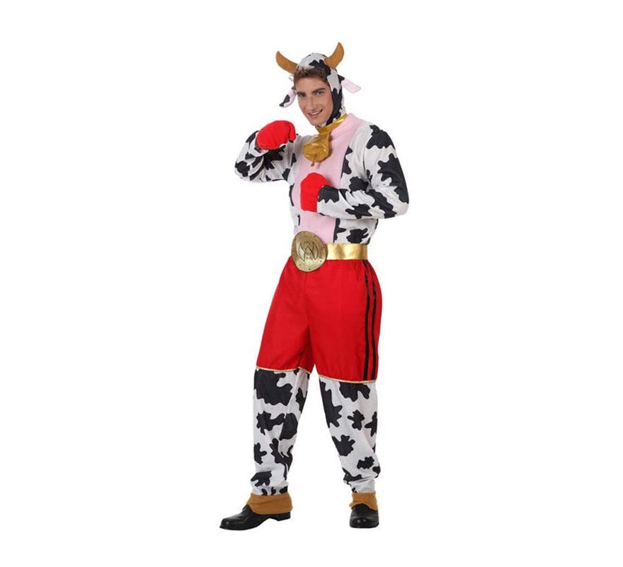 Disfraz de Vaca Boxeadora para hombre. Talla Standar M-L 52/54. Incluye disfraz completo tal y como se muestra en la imagen sin los zapatos. Éste disfraz es ideal para hacer pasar más vergüenza si cabe a los novios en las Despedidas de Soltero.