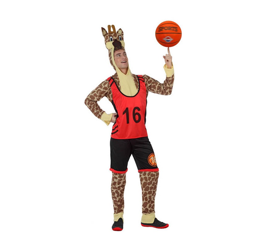 Disfraz de Jirafa jugador de Baloncesto para hombre. Talla Standar M-L 52/54. Incluye disfraz completo SIN balón ni zapatillas.