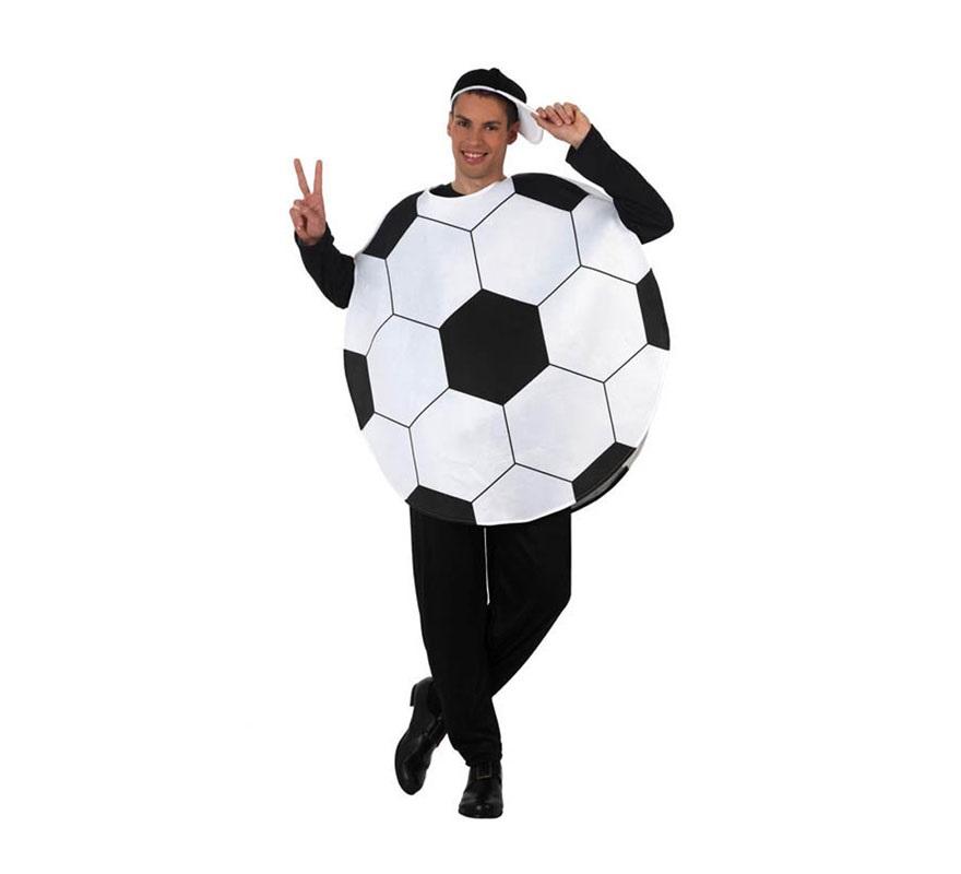 Disfraz de Balón de Fútbol para hombre. Talla 2 ó talla Standar M-L 52/54. Incluye disfraz de balón y visera.