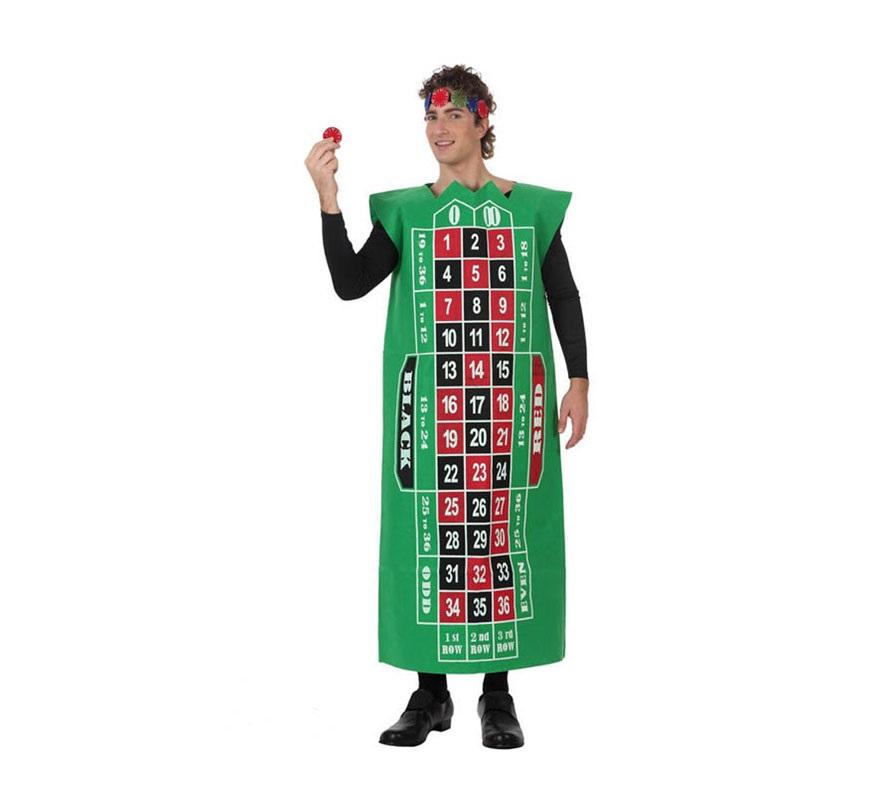 Disfraz de Tablero Ruleta de Casino para adultos. Talla Standar de hombre, pero también serviría para mujer. Incluye disfraz y cinta de la cabeza.