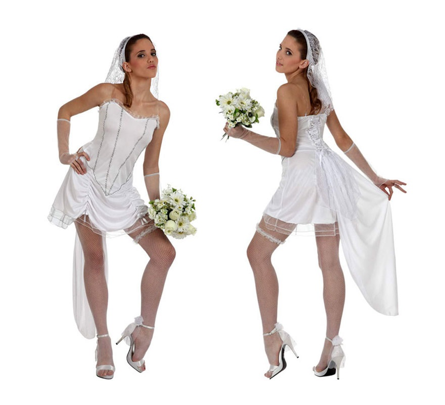 Disfraz de Novia Sexy para mujer. Talla 3 ó XL 44/48. Incluye vestido, liga, velo y guantes calados. Perfecto para Despedidas de Soltera.