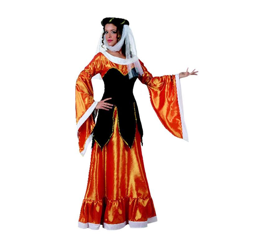 Disfraz de Reina Medieval para mujer. Talla 2 ó talla Standar M-L 38/42. Incluye vestido y velo.