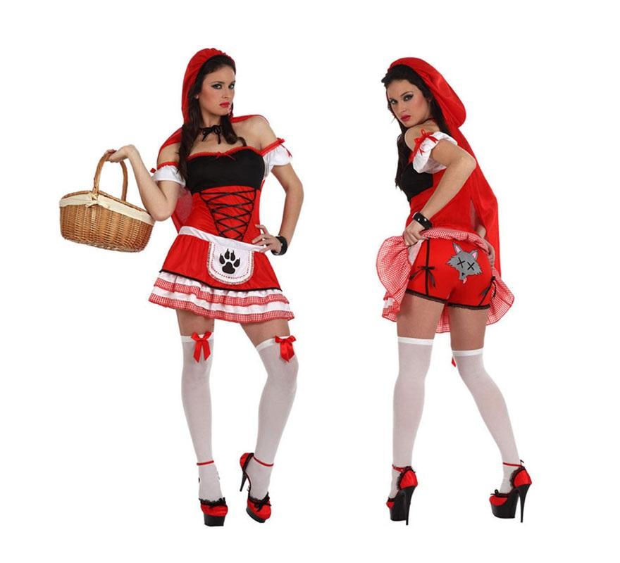 Disfraz de Caperucita Roja sexy para chicas. Talla S 34/38 para chicas delgadas y adolescentes. Incluye vestido, capa y braguitas.