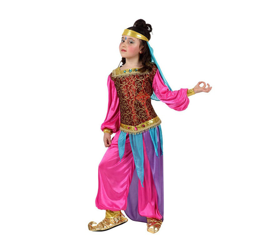 Disfraz de Bailarina Árabe rosa para niñas de 3 a 4 años. Incluye camisa, pantalón y tocado. Babuchas NO incluidas, podrás verlas en la sección de Complementos. Con éste traje podrás disfrazarte de Jasmine y ser una auténtica Princesa.