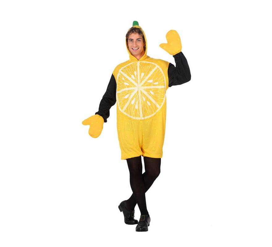 Disfraz de Limón para hombre. Talla 2 ó talla Standar M-L 52/54. Incluye disfraz y guantes.