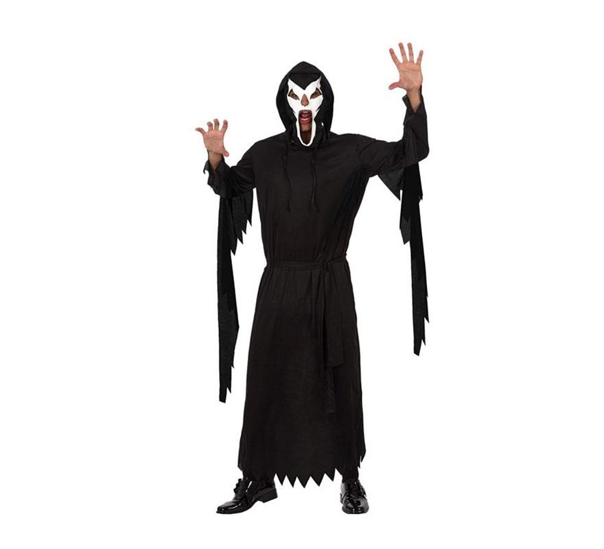 Disfraz de Fantasma Encapuchado hombre. Talla Standar M-L 52/54. Incluye disfraz y máscara, tal y como se muestra en la imagen.