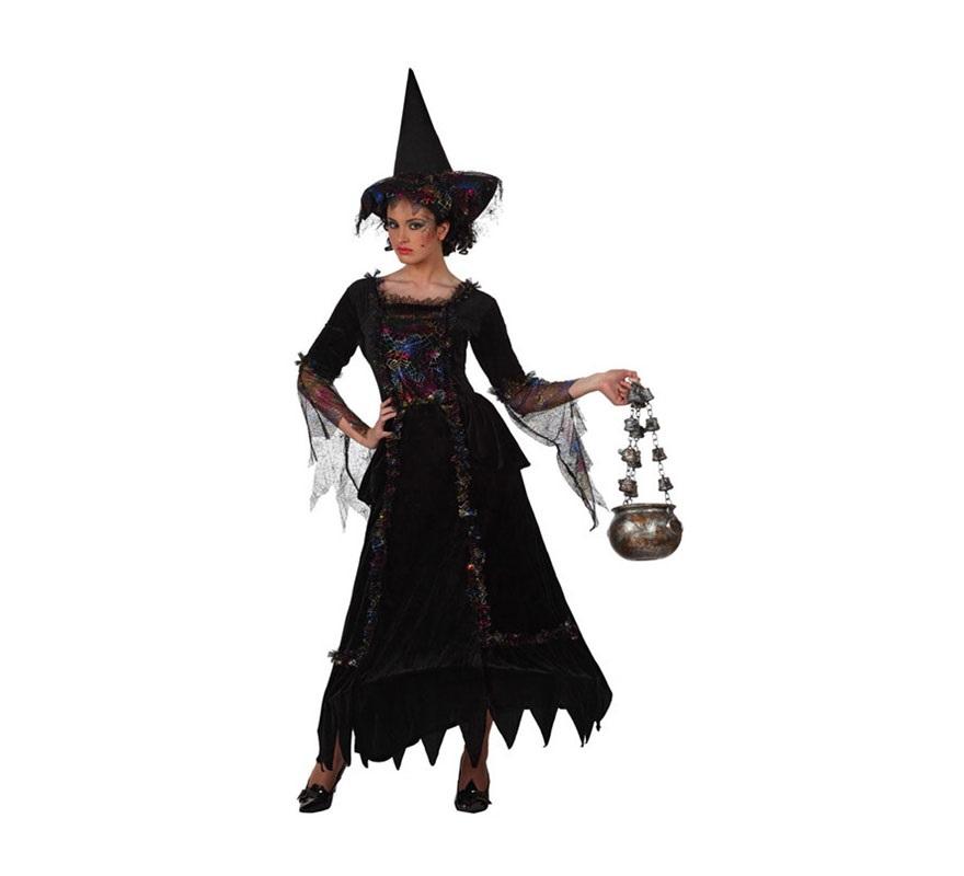 Disfraz de Bruja Elegante para mujer. Talla Standar M-L 38/42. Incluye vestido y gorro.