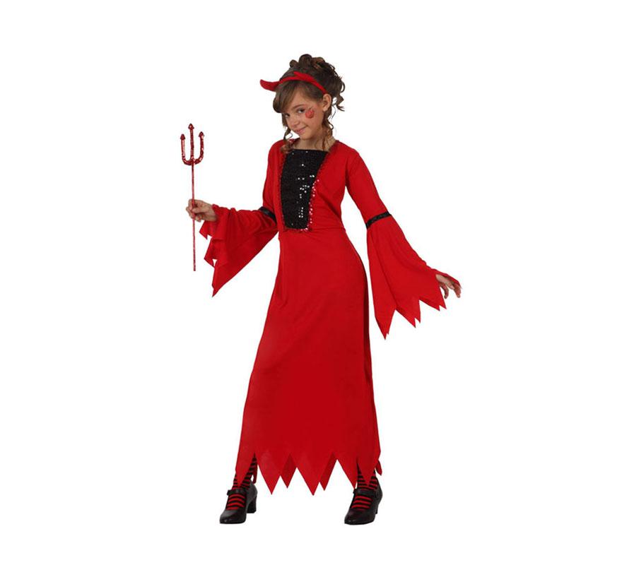Disfraz de Demonia o Diablesa para niña de 5 a 6 años. Incluye diadema y vestido. Tridente NO incluido, podrás verlo en la sección de Complementos.