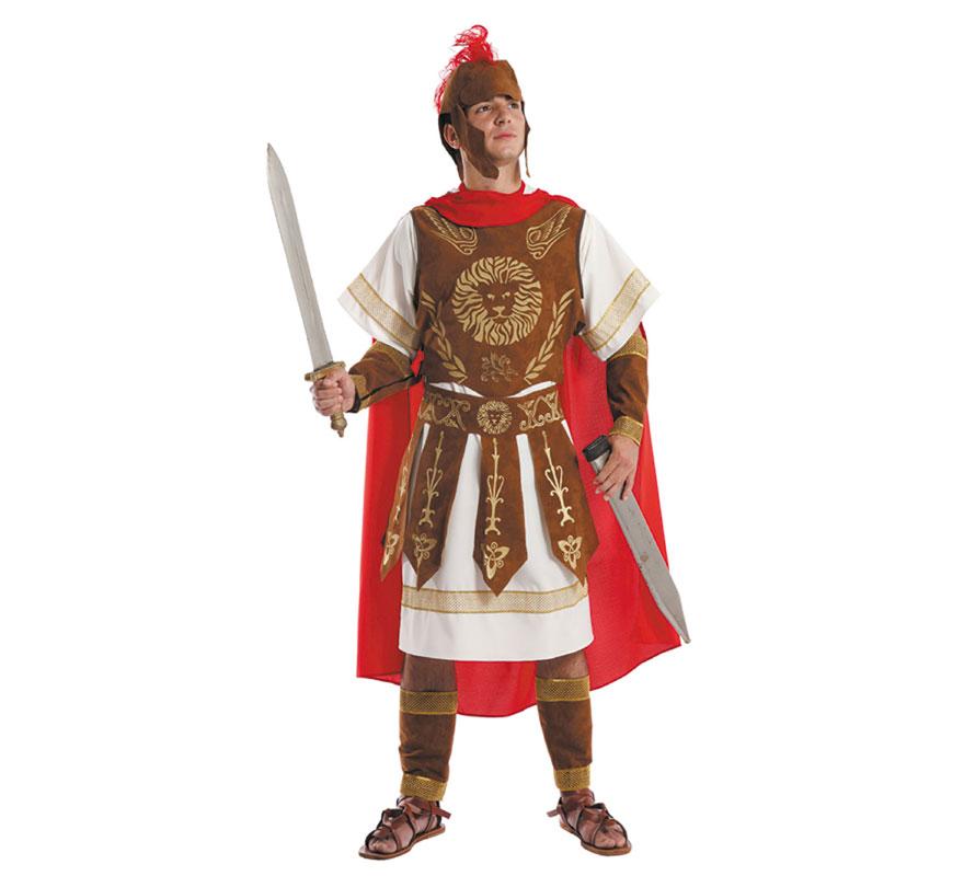 Disfraz o Traje de Centurión Romano adulto. Talla 52 Universal de adultos. Incluye capa, túnica, pectoral, falda, muñequeras, espinilleras y gorro. Resto de accesorios NO incluidos, podrás ver algunos de ellos en la sección de Complementos. Perfecto también para Cabalgatas de Reyes en Navidad. Fabricado en España.