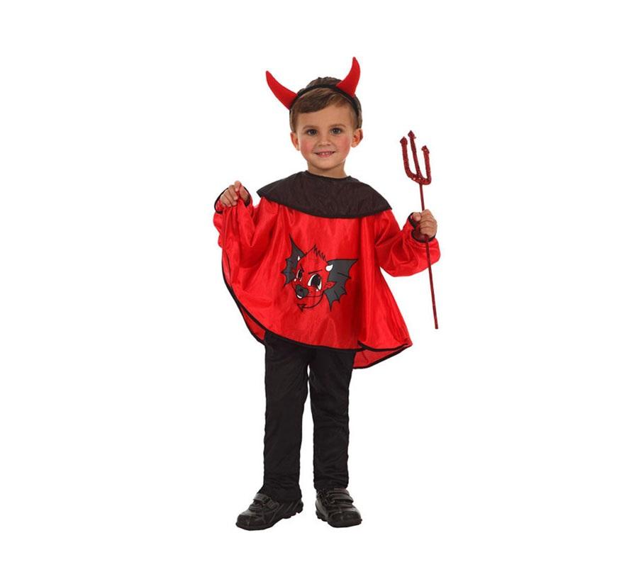 Disfraz de Diablo o Demonio para niños de 3 a 4 años. Incluye pantalón, camisa y diadema con cuernos. Tridente NO incluido, podrás verlo en la sección de Complementos.